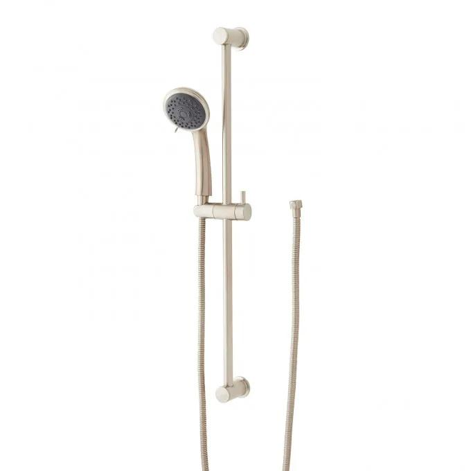 Contemporary Round Multifunction Hand Shower and Slide Bar - Brushed Nickel