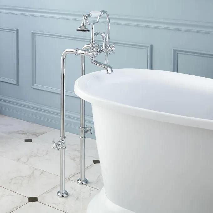 Freestanding Telephone Tub Faucet & Valves - Contemporary Cross Handles