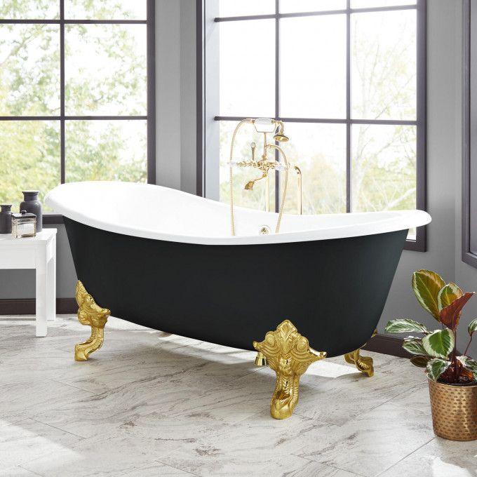 "72"" Lena Cast Iron Clawfoot Tub - Black"