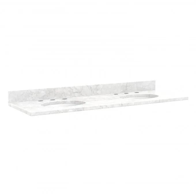 """61"""" Marble Double Top for Undermount Sinks - Carrara - White Porcelain Sink"""