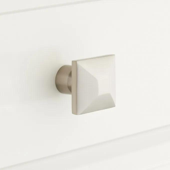 """1-1/4"""" Solid Brass Square Cabinet Knob - Brushed Nickel"""
