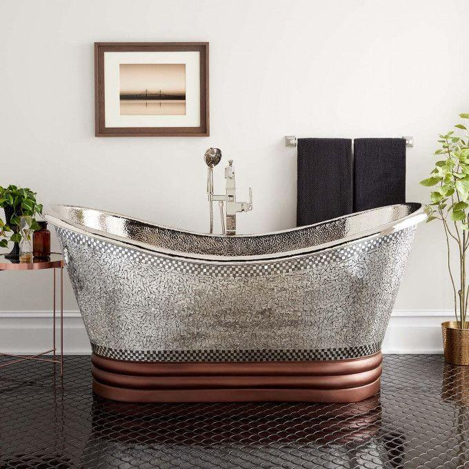 """71"""" Anastasia Mosaic Nickel Plated Copper Double Slipper Tub"""