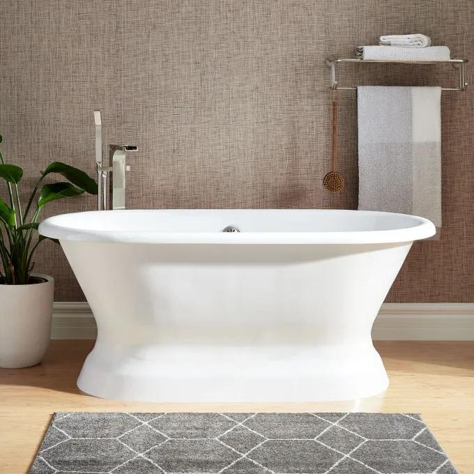 """60"""" Henley Cast Iron Double-Ended Pedestal Tub - No Tap Holes - Rolled Rim"""