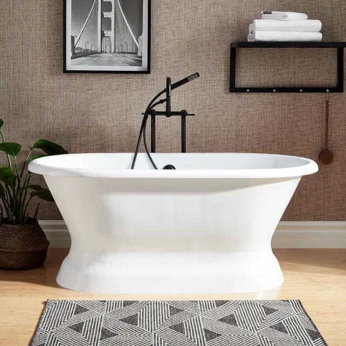 """66"""" Henley Cast Iron Double-Ended Pedestal Tub - No Tap Holes - Rolled Rim"""