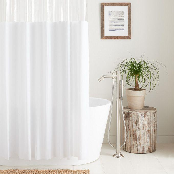 Hook Free Vinyl Shower curtain with Clear Panel