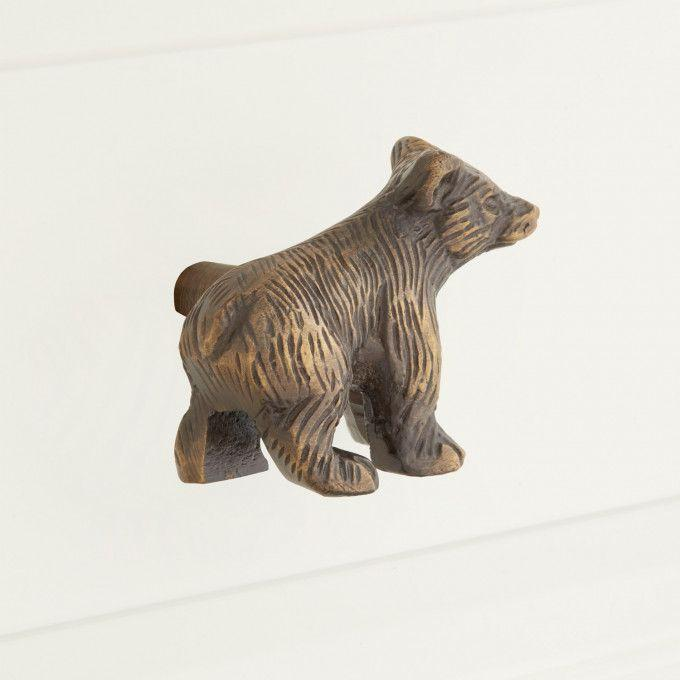 Solid Brass Bear Cabinet Knob - Antique Brass
