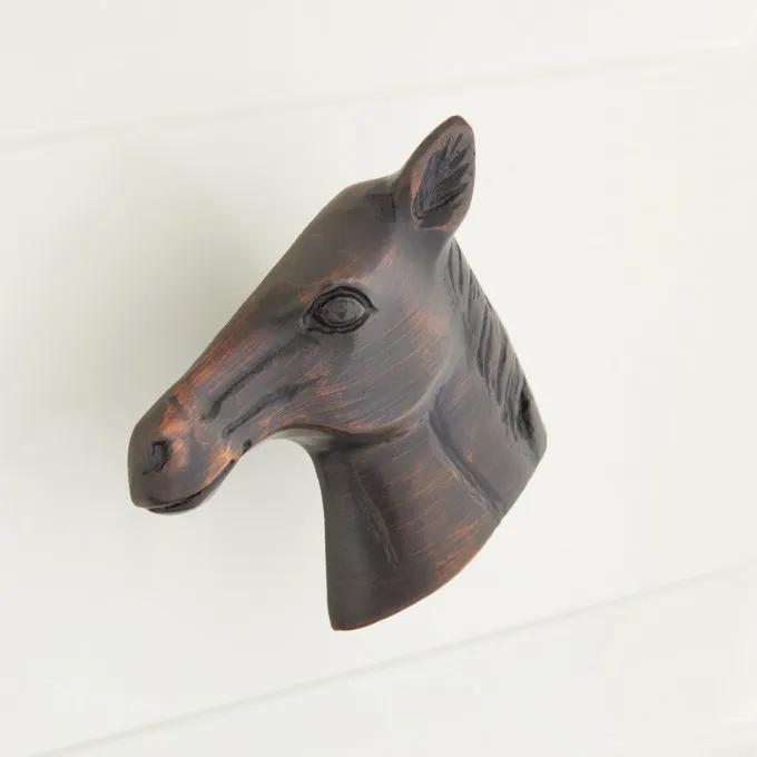 Solid Brass Horse Cabinet Knob - Oil Rubbed Bronze