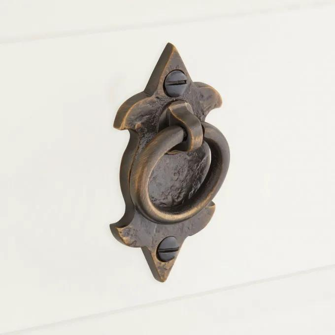 Rustic Solid Brass Drawer Pull - Antique Brass