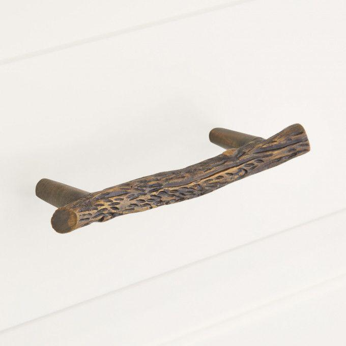 Arbor Twig Solid Brass Cabinet Pull - Antique Brass