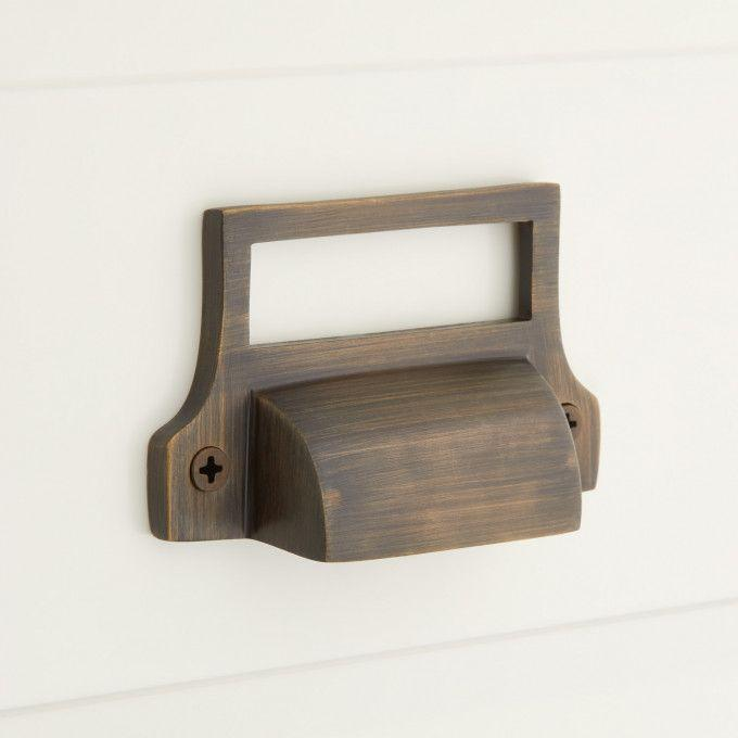 Classic Brass Cup Pull with Label Holder - Antique Brass