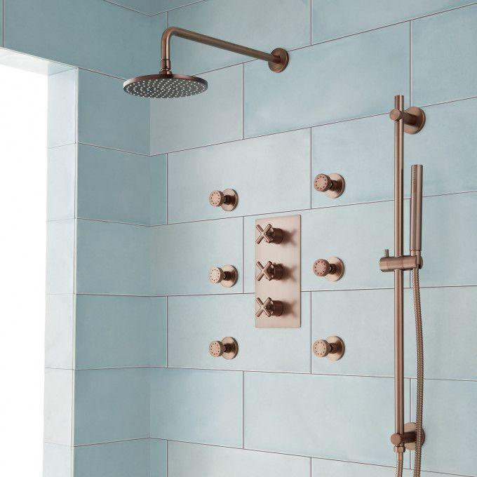 Exira Thermostatic Shower System - Hand Shower and 6 Body Sprays - Oil Rubbed Bronze