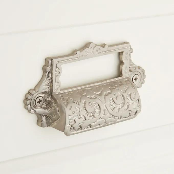Ornate Brass Cup Pull with Label Holder - Brushed Nickel