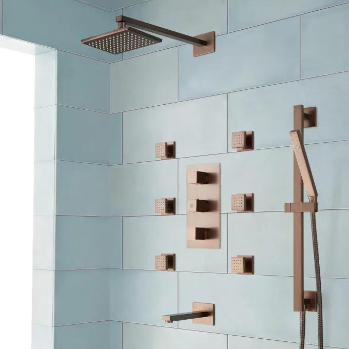 Onassis Thermostatic Tub and Shower System - 6 Body Sprays - Oil Rubbed Bronze