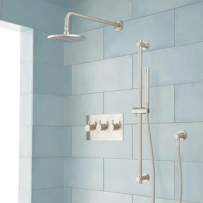 Tosca Thermostatic Shower System with Rainfall Shower and Hand Shower - Brushed Nickel