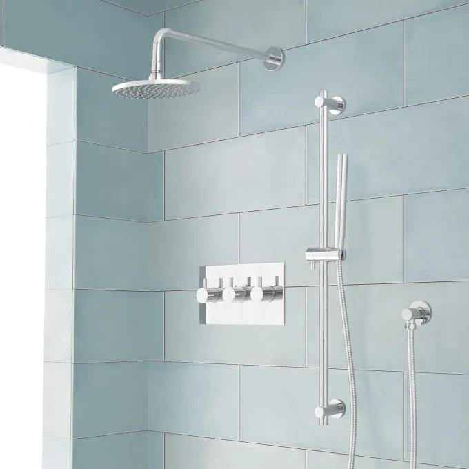 Tosca Thermostatic Shower System with Rainfall Shower and Hand Shower - Chrome