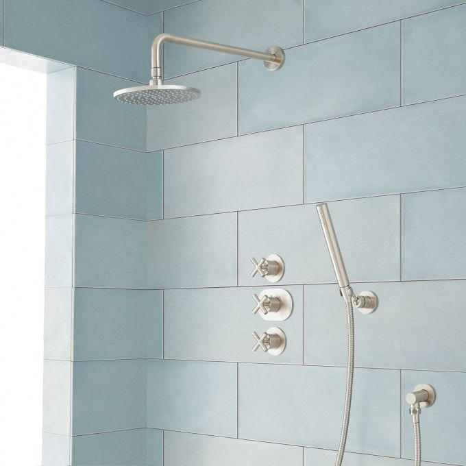 Exira Thermostatic Shower System with Rainfall Shower and Hand Shower - Brushed Nickel