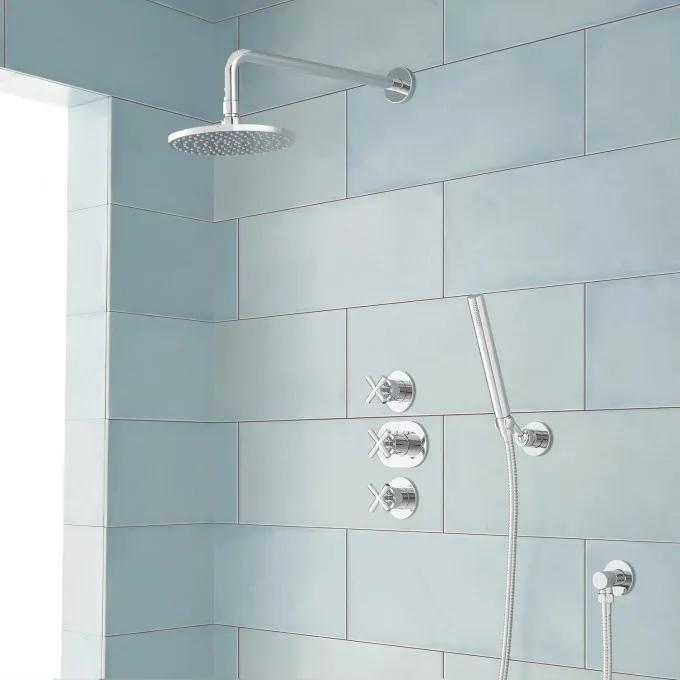 Exira Thermostatic Shower System with Rainfall Shower and Hand Shower - Chrome