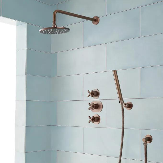 Exira Thermostatic Shower System with Rainfall Shower and Hand Shower - Oil Rubbed Bronze