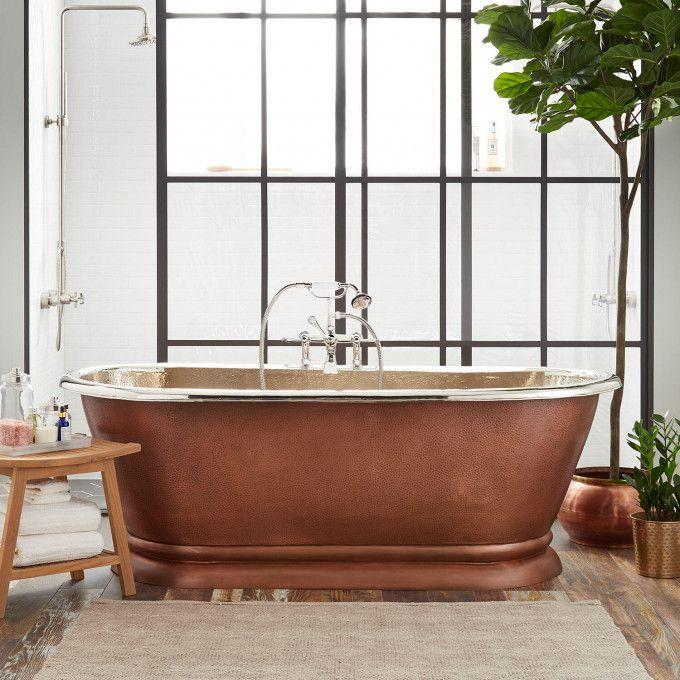 Kaela Hammered Copper Pedestal Tub - Nickel Interior