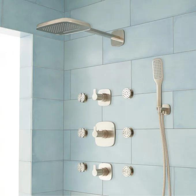 Arin Thermostatic Shower System with Hand Shower & 6 Body Sprays - Brushed Nickel