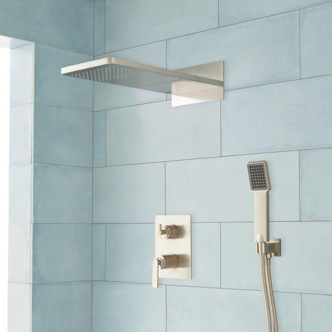 Calhoun Shower System with Rainfall Shower Head & Hand Shower - Brushed Nickel