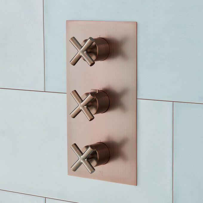 Modern 4-Way Thermostatic Valve with Cross Handles - Oil Rubbed Bronze