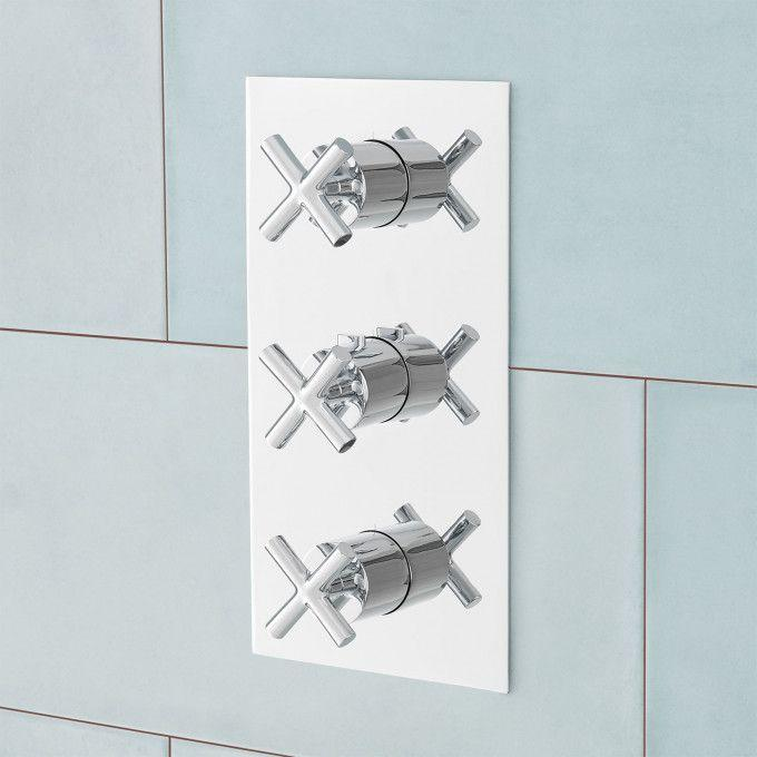 Modern 4-Way Thermostatic Valve with Cross Handles - Chrome