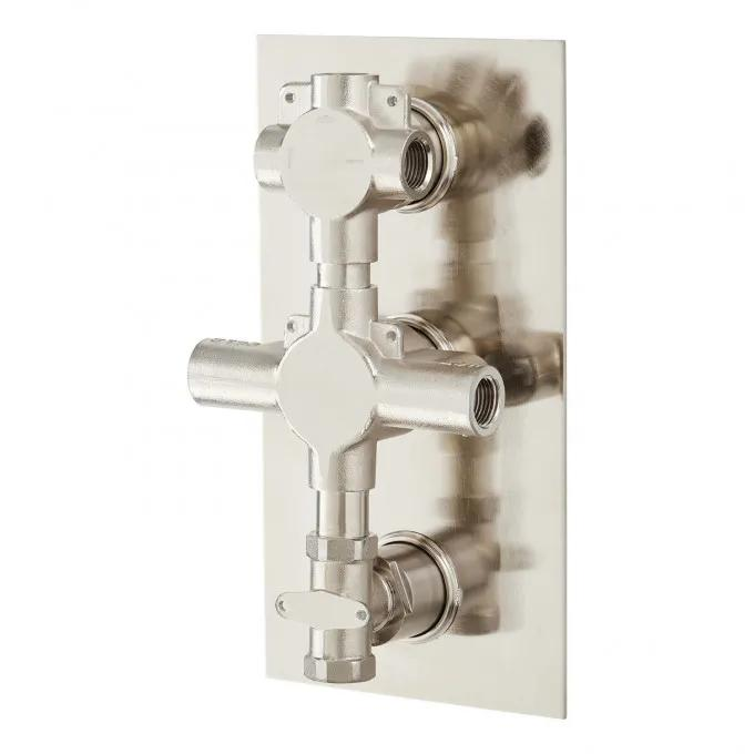 Modern 4-Way Thermostatic Valve with Cross Handles - Brushed Nickel - Back