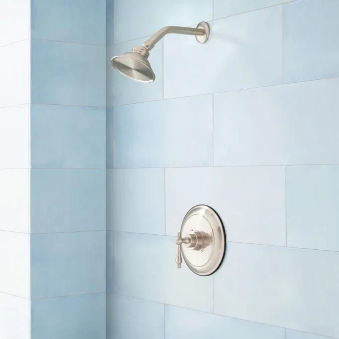 """Windom Shower Set with Classic Lever Handle - 8"""" Arm - Brushed Nickel"""