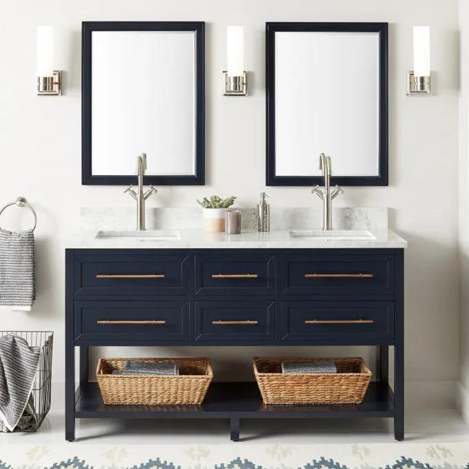 """60"""" Robertson Double Vanity for Rectangular Undermount - Single Hole with optional Mirrors"""