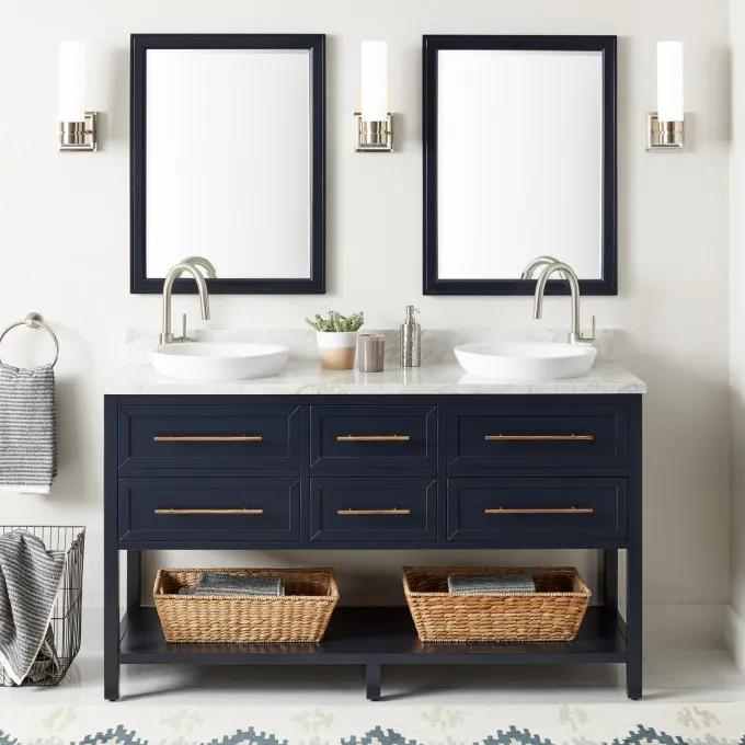 """60"""" Robertson Double Vanity for Semi-Recessed Sink - Single Hole with optional Mirrors"""