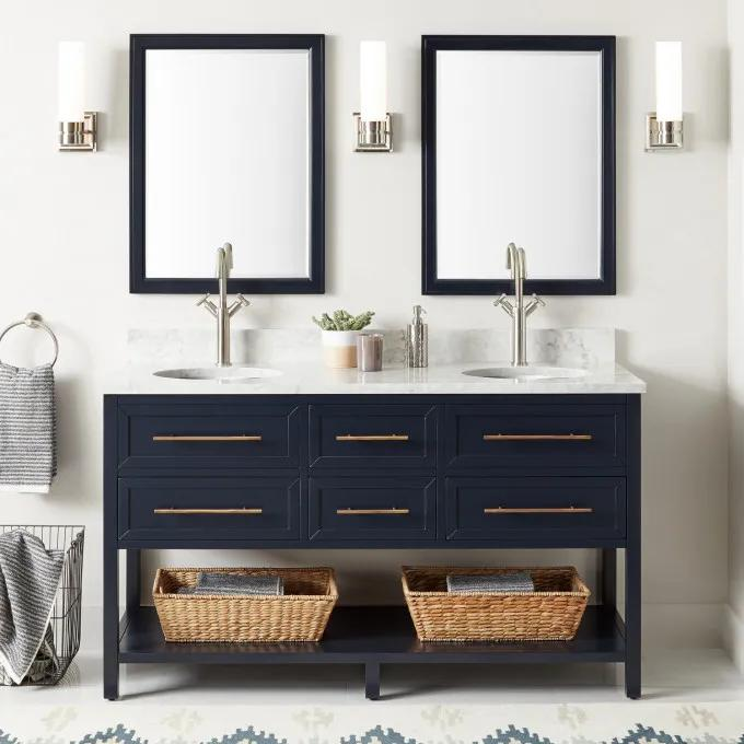 """60"""" Robertson Double Vanity for Undermount Sink - Midnight Navy Blue - Single Hole with optional Mirrors"""