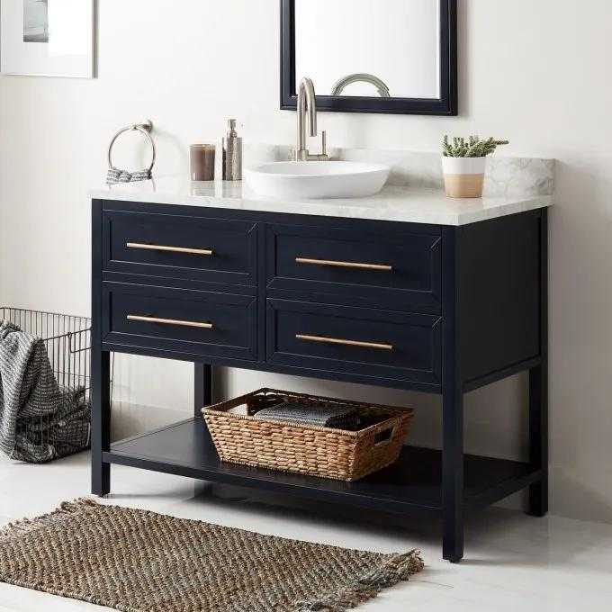 "48"" Robertson Vanity for Semi-Recessed Sink - Midnight Navy Blue - Single Hole Left"