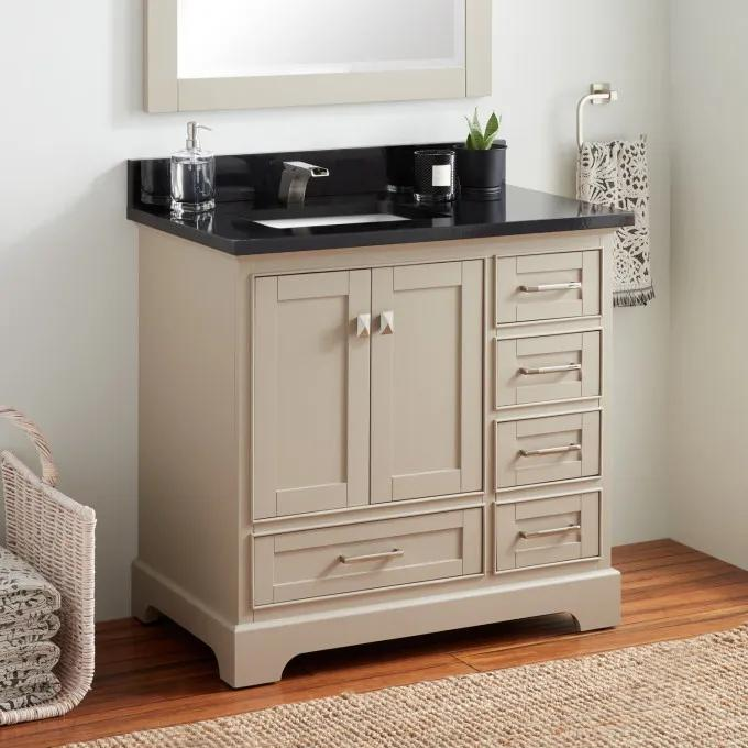 "36"" Quen Vanity for Left Offset Rectangular Undermount Sink - Taupe"