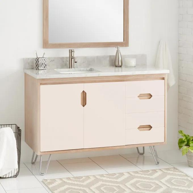 "48"" Millie Teak Vanity for Left Offset Rectangular Undermount Sink - Blush/Whitewash"