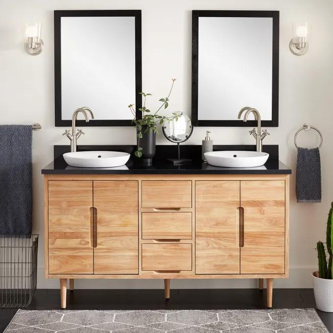 "60"" Bivins Teak Bathroom Vanity for Semi-Recessed Sink"