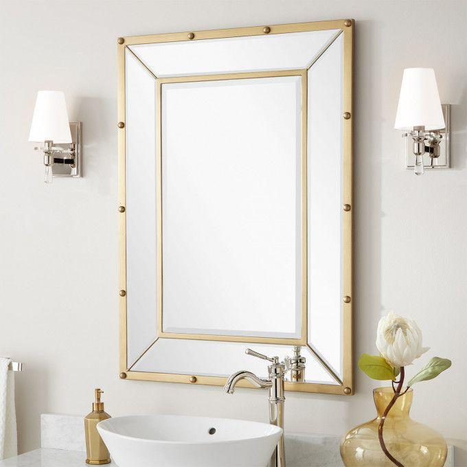 Joanie Riveted Mirror - Stainless Steel  Antique Brass