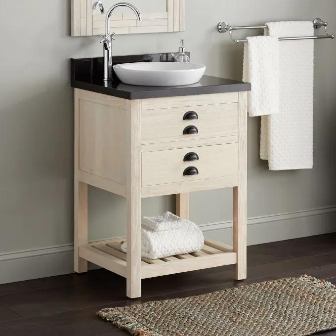"24"" Ansel Console Vanity for Semi-Recessed Sink - Whitewash Pine"