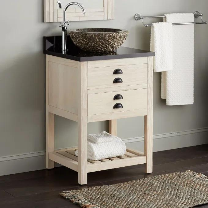 """24"""" Ansel Console Vanity for Vessel Sink - Whitewash Pine"""