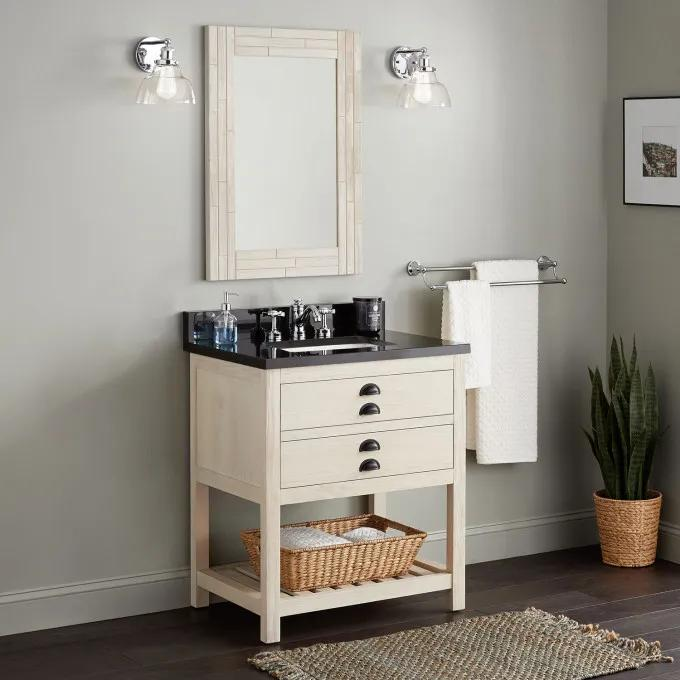 "30"" Ansel Console Vanity for Rectangular Undermount Sink - Whitewash Pine"