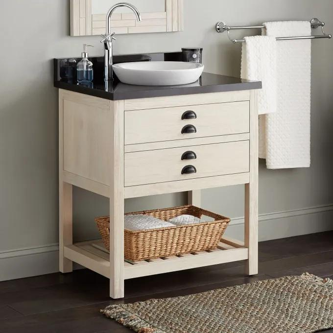 "30"" Ansel Console Vanity for Semi-Recessed Sink - Whitewash Pine"