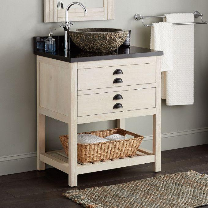 "30"" Ansel Console Vanity for Vessel Sink - Whitewash Pine"