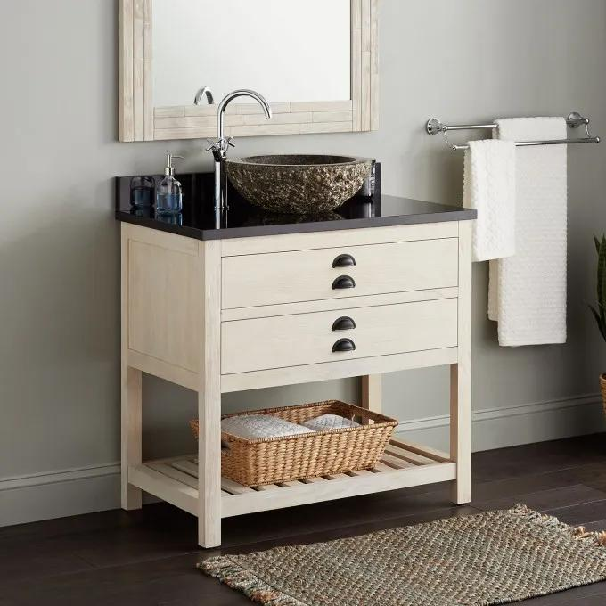 """36"""" Ansel Console Vanity for Vessel Sink - Whitewash Pine"""