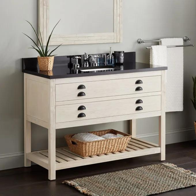 """48"""" Ansel Console Vanity for Rectangular Undermount Sink - Cottage White"""