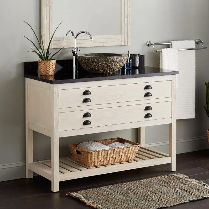 "48"" Ansel Console Vanity for Vessel Sink - Whitewash Pine"