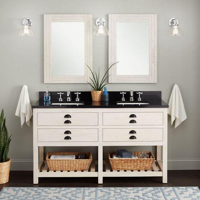 "60"" Ansel Double Console Vanity for Rectangular Undermount Sinks - Whitewash Pine"