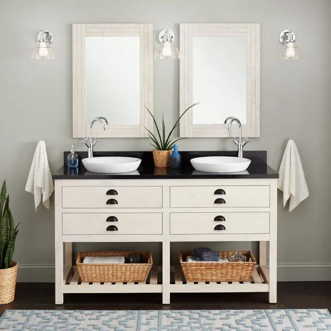 """60"""" Ansel Double Console Vanity for Semi-Recessed Sinks - Whitewash Pine"""
