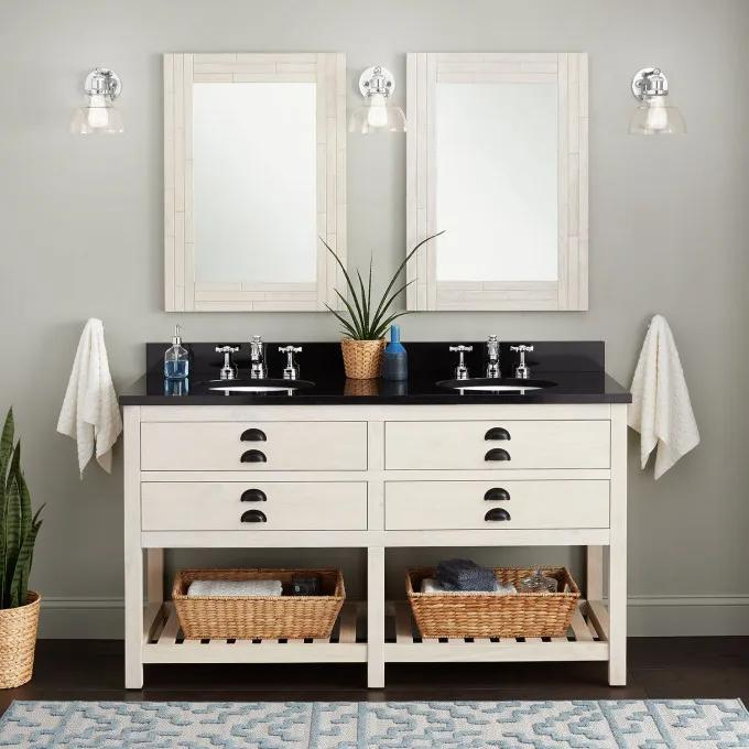 "60"" Ansel Double Console Vanity for Undermount Sinks - Whitewash Pine"