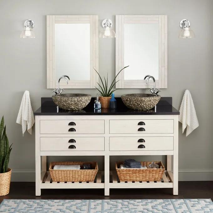 """60"""" Ansel Double Console Vanity for Vessel Sinks - Whitewash Pine"""