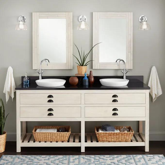 """72"""" Ansel Double Console Vanity for Semi-Recessed Sinks - Whitewash Pine"""